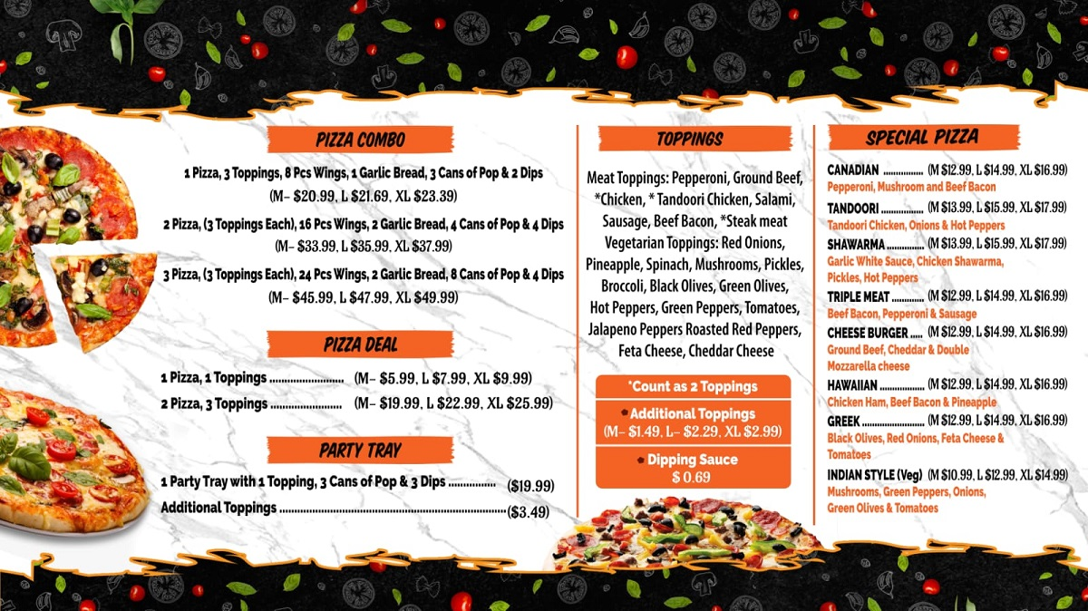 Guelph pizza menu special pizza and combo deals