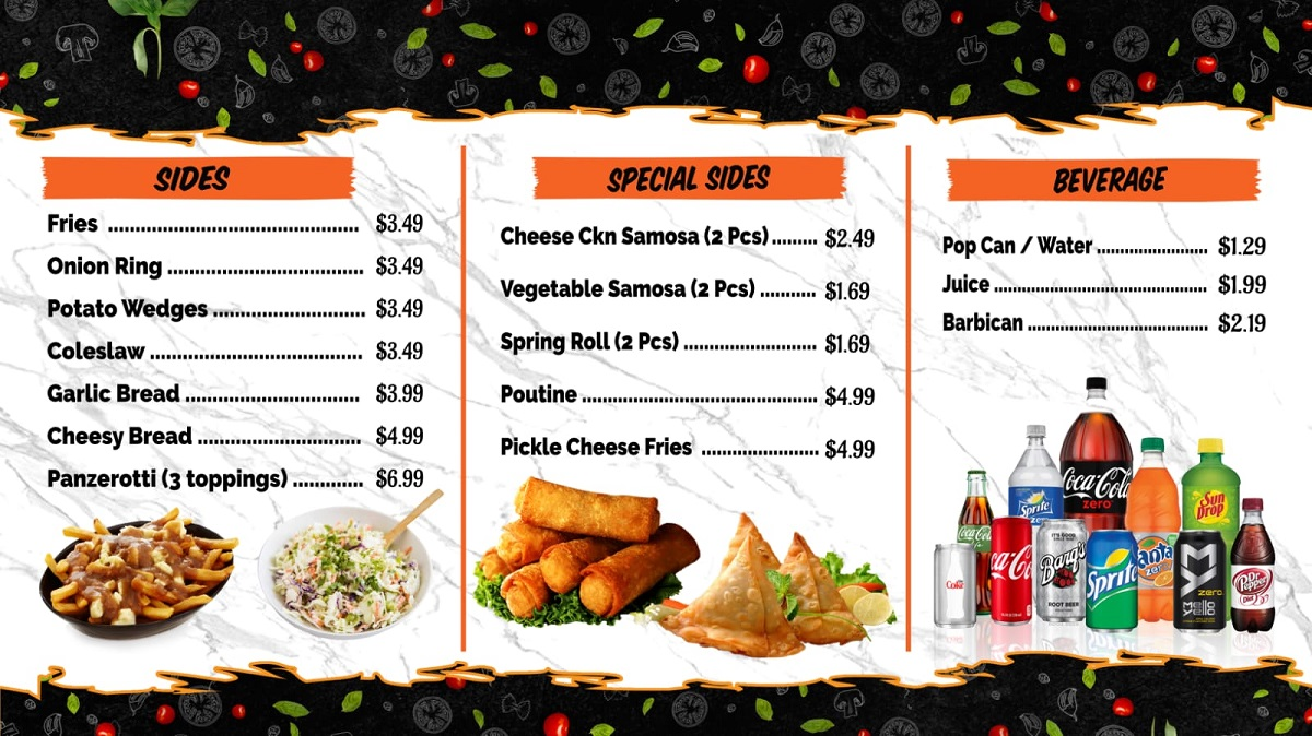 Guelph special sides store menu