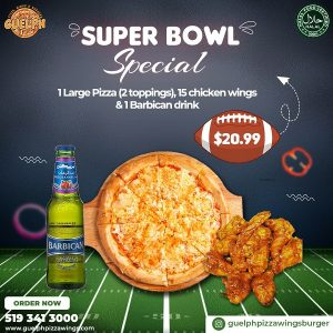 Super Bowl Guelph pizza and wings